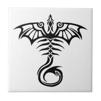 Tribal style tattoo dragon's skeleton ceramic tile