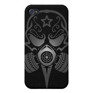 Tribal Sugar Skull with Gas Mask (black) Covers For iPhone 4