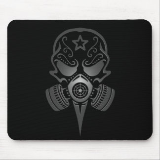 Tribal Sugar Skull with Gas Mask (black) Mouse Pad