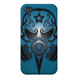 Tribal Sugar Skull with Gas Mask (blue) Covers For iPhone 4