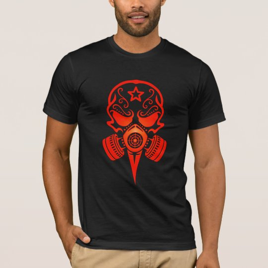 Tribal Sugar Skull with Gas Mask (red) T-Shirt