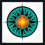 """Tribal Sun 11 Wall Decal<br><div class=""""desc"""">Abstract Flaming Tribal Sun with circular teal background</div>"""