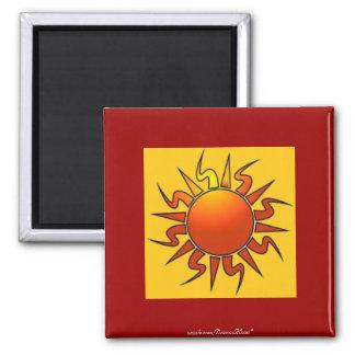 Tribal Sun 2 Inch Square Magnet