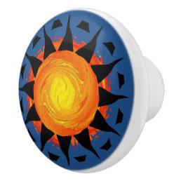 Tribal Sun in Blue Ceramic Knob