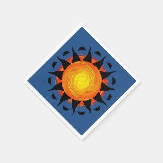 Tribal Sun in Blue Paper Napkin
