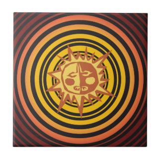 Tribal Sun Primitive Caveman Drawing Pattern Tile