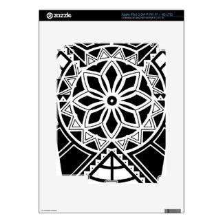 Tribal sun tattoo design decal for iPad 3