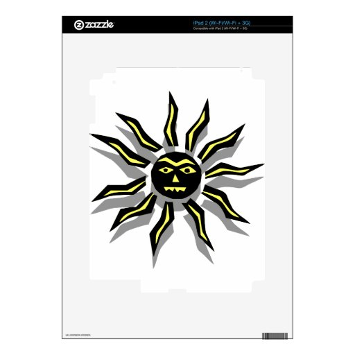 Tribal Sun Tattoo Decals For iPad 2