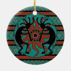 Tribal Sun Turquoise Kokopelli Southwest Christmas Ceramic Ornament