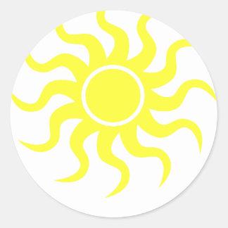 Tribal Sun Yellow Classic Round Sticker