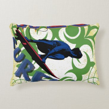 Beach Themed Tribal surfing accent pillow