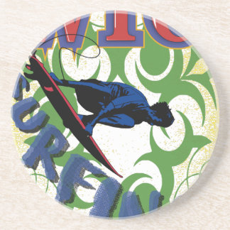 Tribal surfing drink coaster