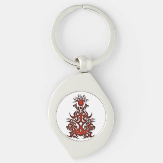 Tribal symbol 15 red Silver-Colored swirl metal keychain