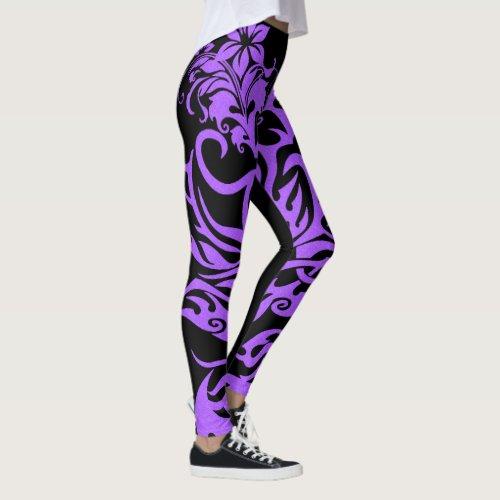 Tribal Symbol 17 purple Leggings