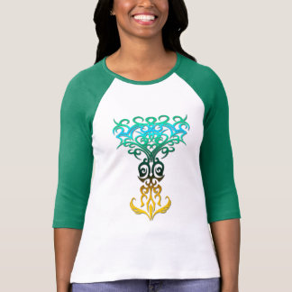 Tribal symbol 18 yellow,aqua (tree of life) tee shirt
