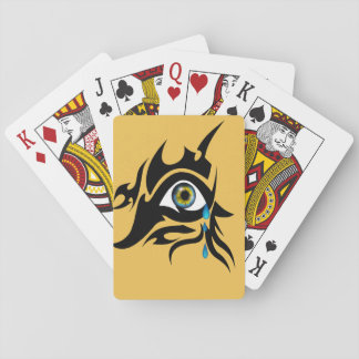 Tribal symbol with iris poker cards