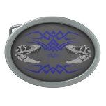 Tribal T-Rex Skulls blue Oval Belt Buckles