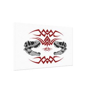 Tribal T-Rex Skulls red Stretched Canvas Print