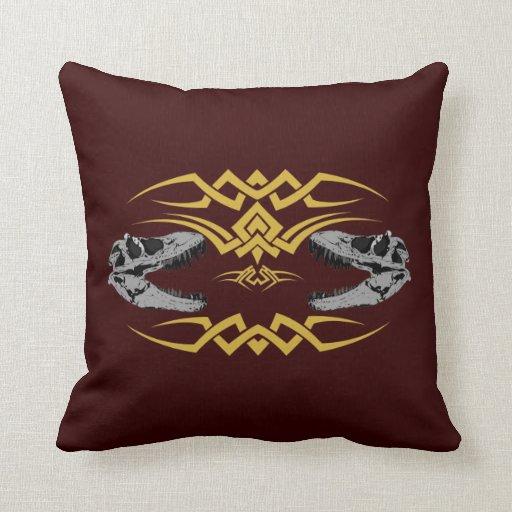 Tribal T-Rex Skulls yellow Pillow