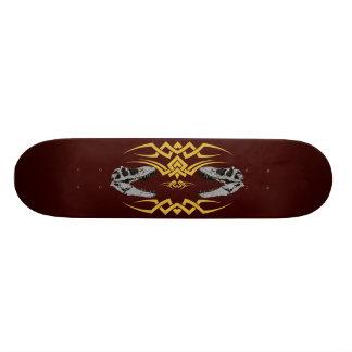 Tribal T-Rex Skulls yellow Skateboard Deck