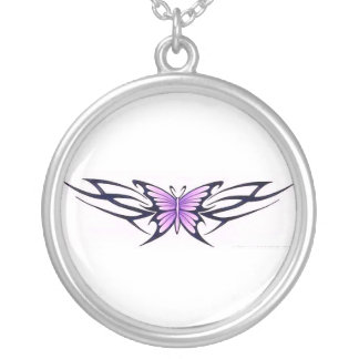 tribal tattoo butterfly silver plated necklace