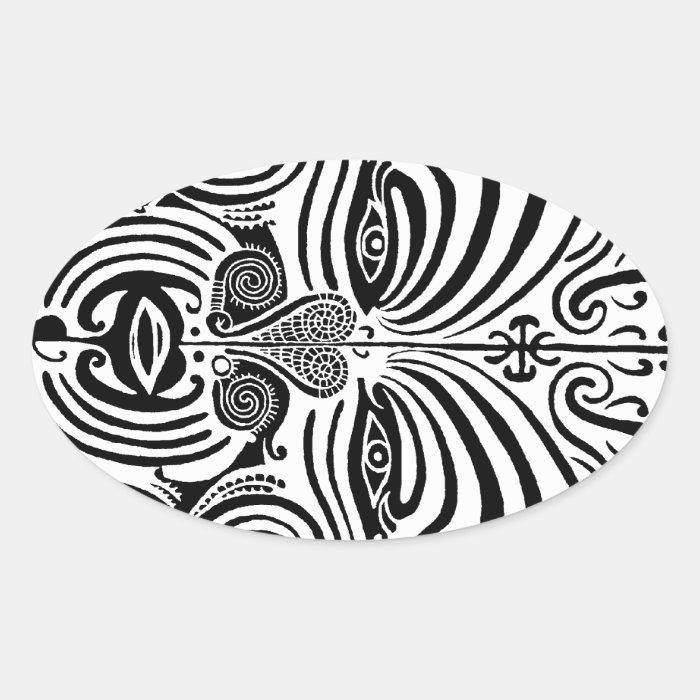 tribal tattoo design new zealand maori oval sticker zazzle. Black Bedroom Furniture Sets. Home Design Ideas