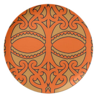 Tribal tattoo design with earth tones brown/orange dinner plate