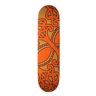 Tribal tattoo design with earth tones brown/orange skateboard deck