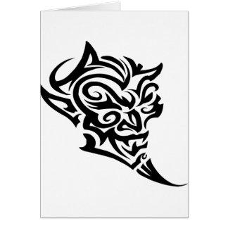 Tribal Tattoo Devil Face Satan Card