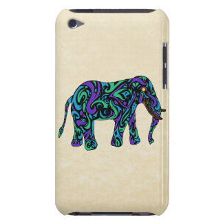 Tribal Tattoo Elephant in Purple Blue and Green iPod Touch Case