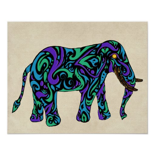 Tribal Tattoo Elephant in Purple Blue and Green Poster