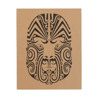 Tribal Tattoo Face Wood Wall Art