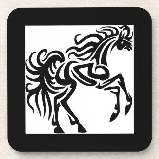 Tribal tattoo horse design beverage coasters