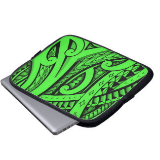 Tribal tattoo in Maori style and Polynesian shapes Laptop Sleeve