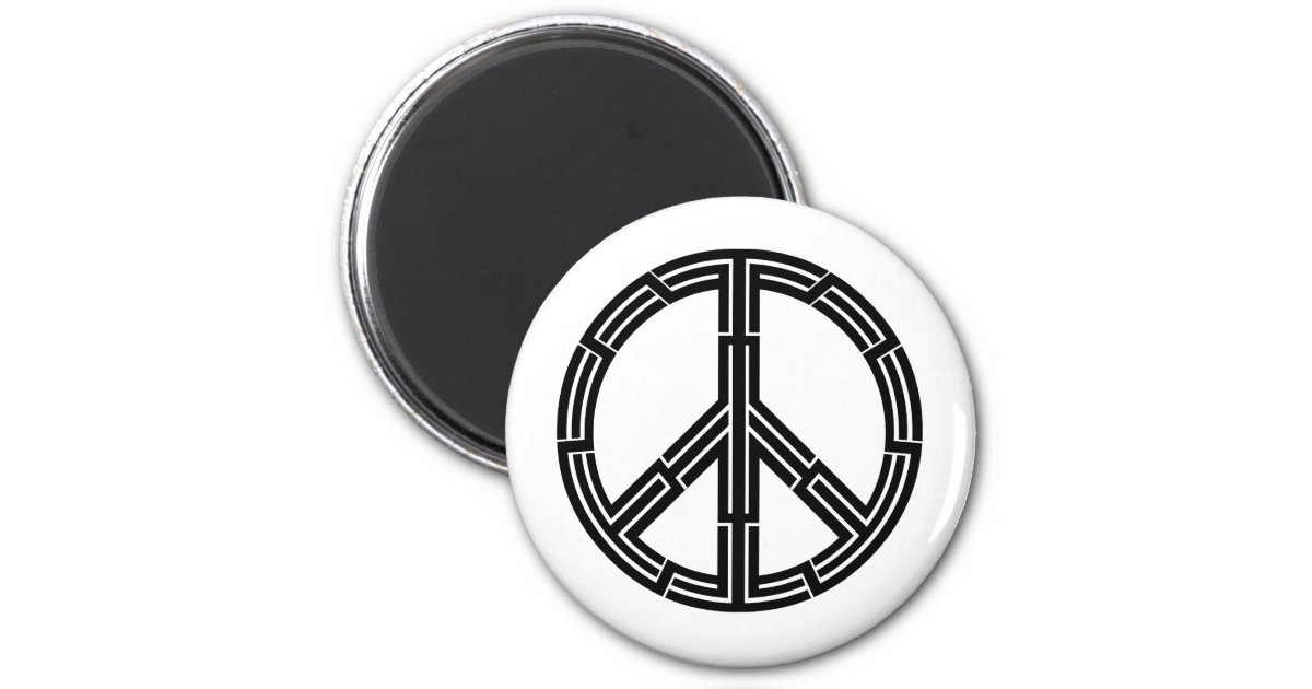 Tribal tattoo peace sign 2 inch round magnet zazzle for Independent tattoo lincoln ne