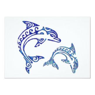 Tribal Tattoo Porpoise Duo 5x7 Paper Invitation Card