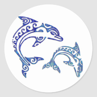 Tribal Tattoo Porpoise Duo Classic Round Sticker