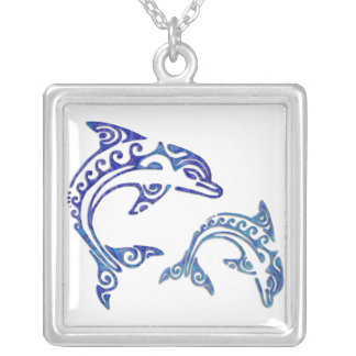 Tribal Tattoo Porpoise Duo Square Pendant Necklace