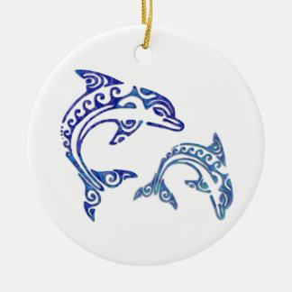 Tribal Tattoo Porpoise Duo Christmas Tree Ornaments