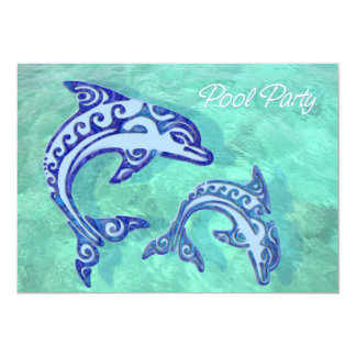 Tribal Tattoo Porpoise Duo Pool Party Card