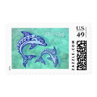 Tribal Tattoo Porpoise Duo Pool Party Postage Stamp
