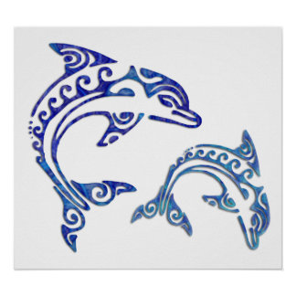 Tribal Tattoo Porpoise Duo Poster
