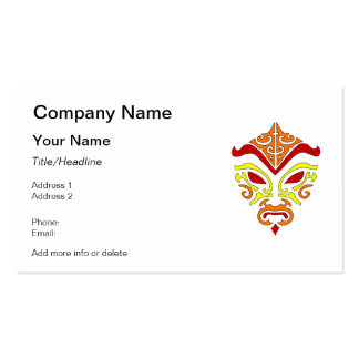 Tribal Tattoo Style Fiery Demonic Kabuki Mask Double-Sided Standard Business Cards (Pack Of 100)