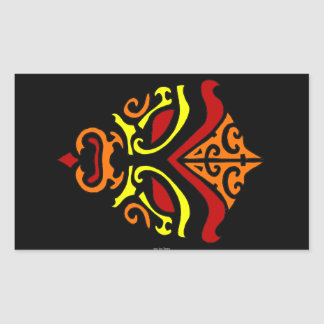 Tribal Tattoo Style Fiery Demonic Kabuki Mask Rectangular Sticker