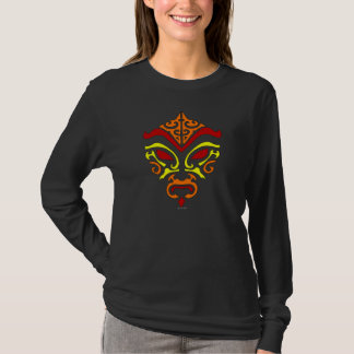 Tribal Tattoo Style Fiery Demonic Kabuki Mask T-Shirt