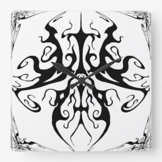 Tribal Tattoo Surreal Butterfly Square Wall Clock