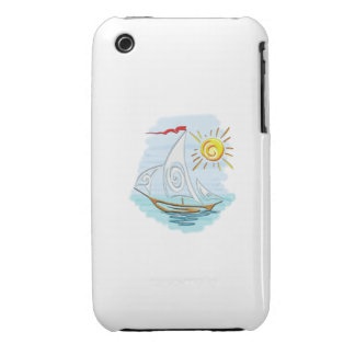 Tribal Tattoo Watercolor Sailboat iPhone 3 Cover