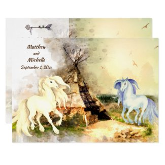 Tribal Teepee and Horses in Love Boho Wedding Invitation