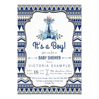 Tribal Teepee Blue Gray Boys Boho Baby Shower Card