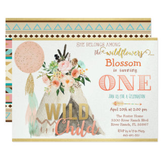 Tribal Teepee Tipi First Birthday Invitation